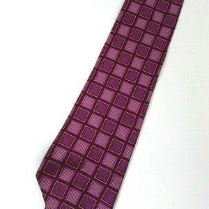 Tommy Hilfiger Purple Square Geometric Silk Tie